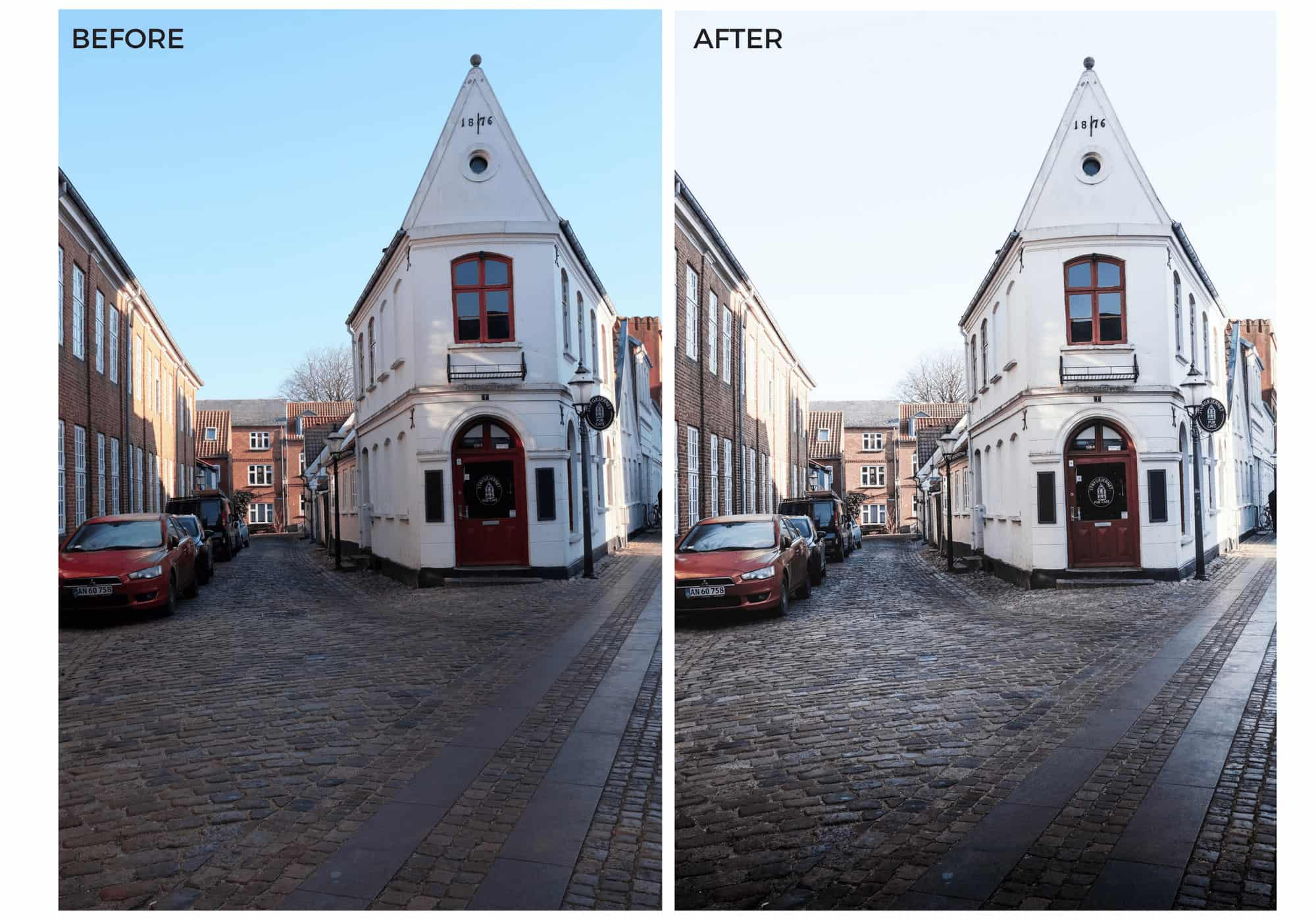 Before and after picture of white building with Lightroom preset applied