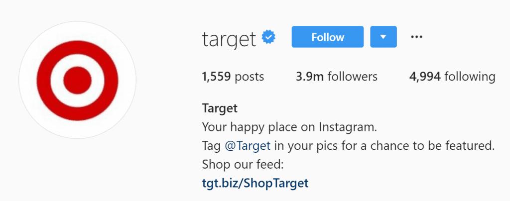 screenshot of target's instagram account