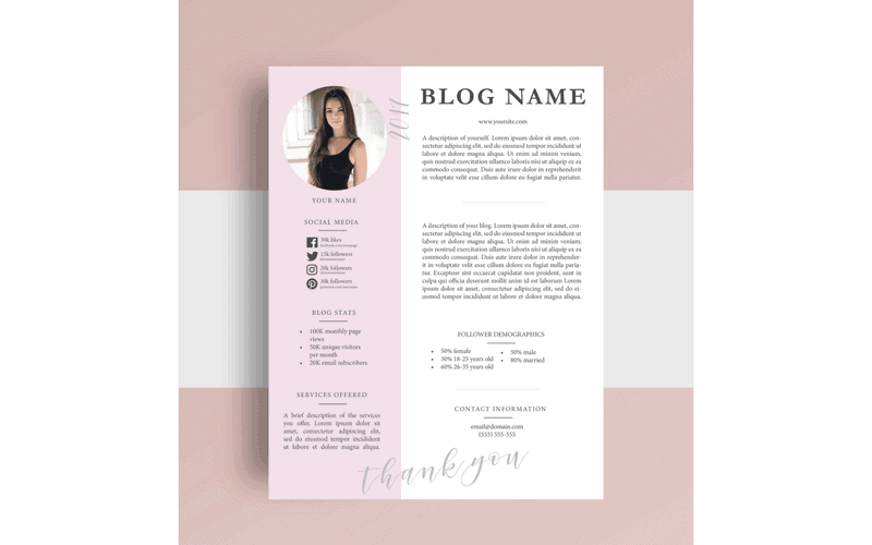 Screenshot of a pink media kit for bloggers.