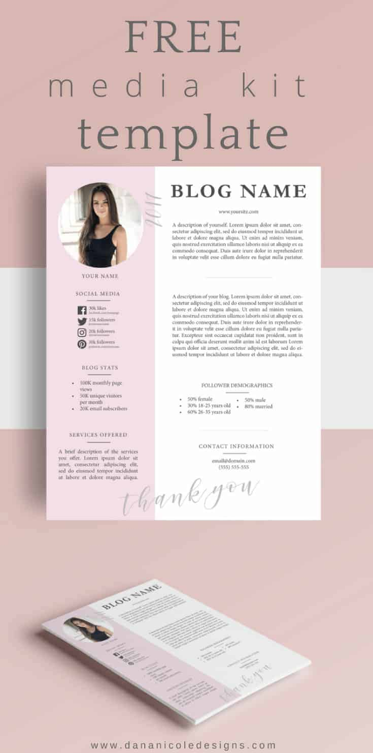 Media Kit for bloggers Mockup. Pink and grey