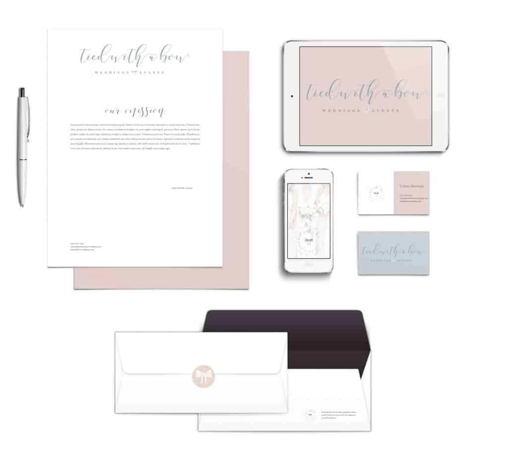 Tied with a bow branding mockup, letterhead, iPad, envelope and business cards