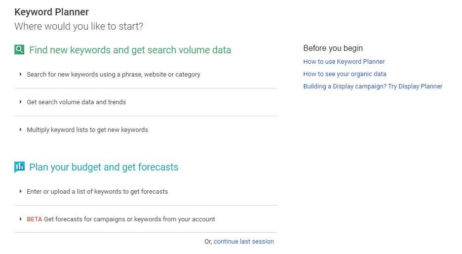 Screenshot of Google Keyword planner for SEO