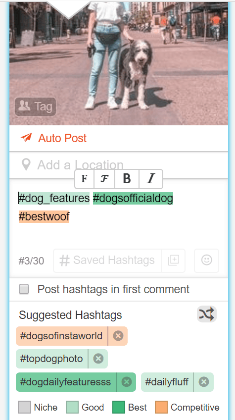 Screenshot of Tailwind's hashtag finder