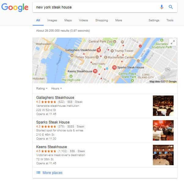 Map showing Google My Business listings