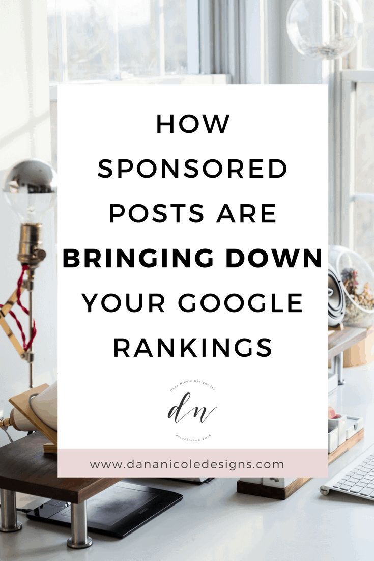 image with text overlay: how sponsored posts are bringing down your google rankings