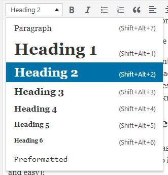 Screenshot of where to change your headings within WordPress