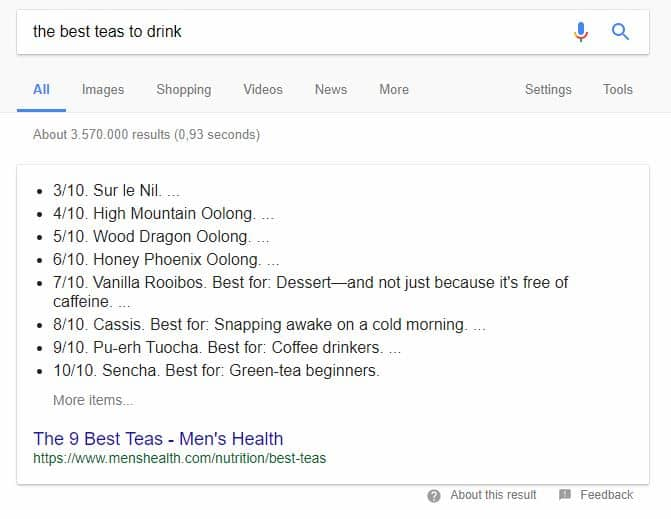 Screenshot of the featured snippets in Google