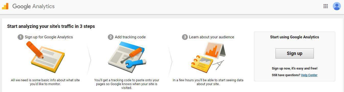 Screenshot of Google Analytics Set Up