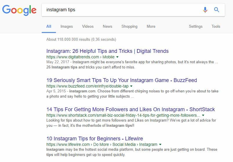 "Google search results for ""Instagram Tips"""