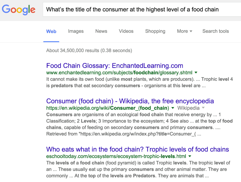 "Google search results for ""what's the title of the consumer at the highest level of a food chain"""