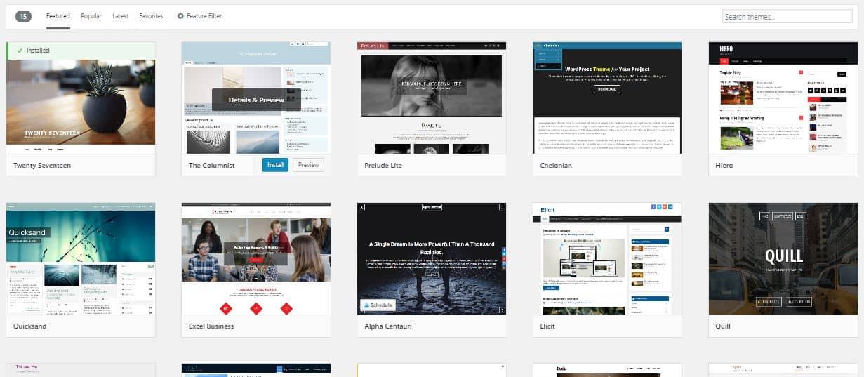 Screenshot of theme library on WordPress blogging platform