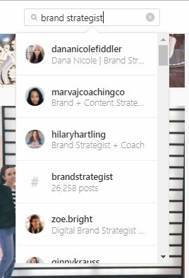 Screenshot of Instagram search function