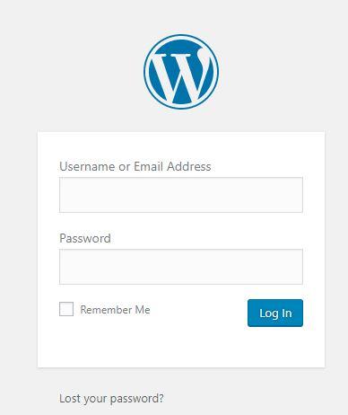 Screenshot of wordpress blog log in