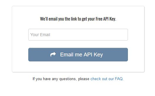 Screenshot of a place to enter your email address to recieve an API key