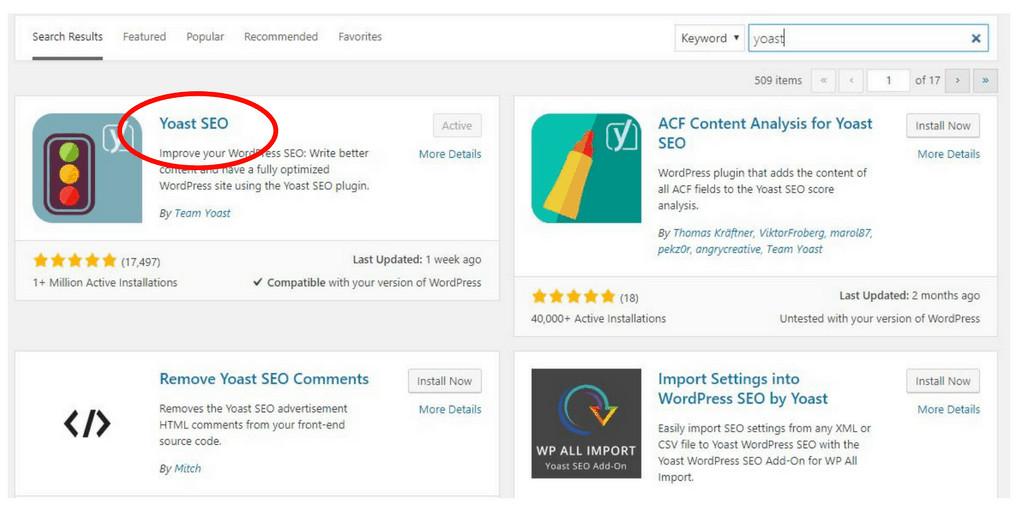 Screenshot of yoast plugin in WordPress