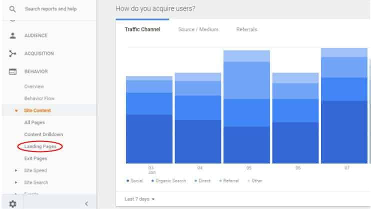Google analytics interface screenshot