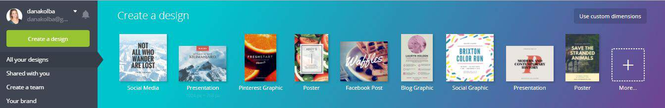 A screenshot of different designs you can create in canva