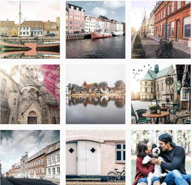Instagram feed grid with 9 different photos
