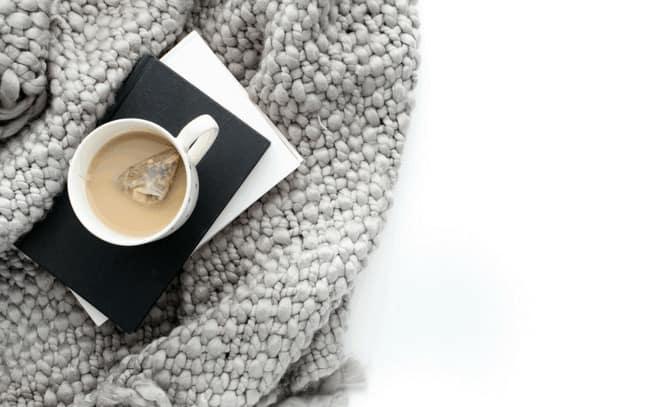 Tea on a gray blanket