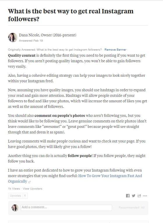 Screenshot of Quora answer