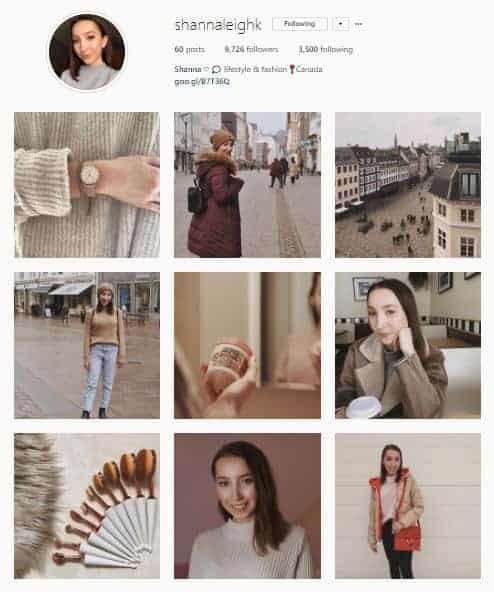Screenshot of an Instagram account