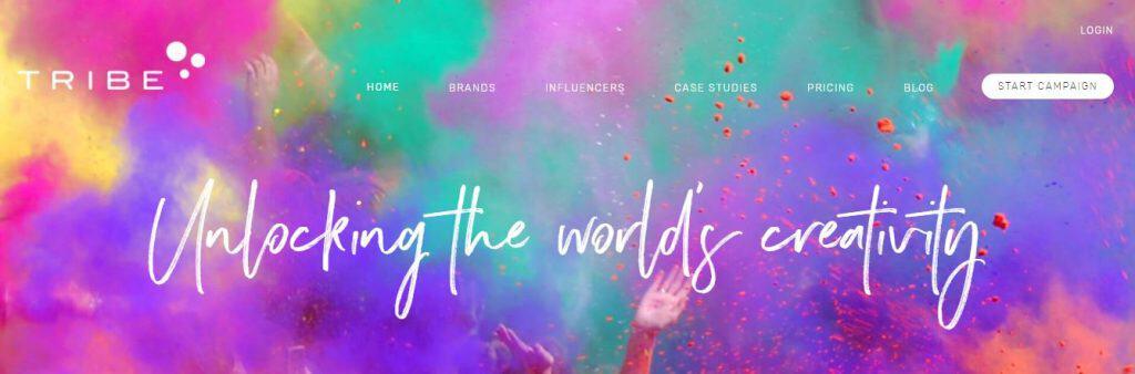 Screenshot of Tribe's website