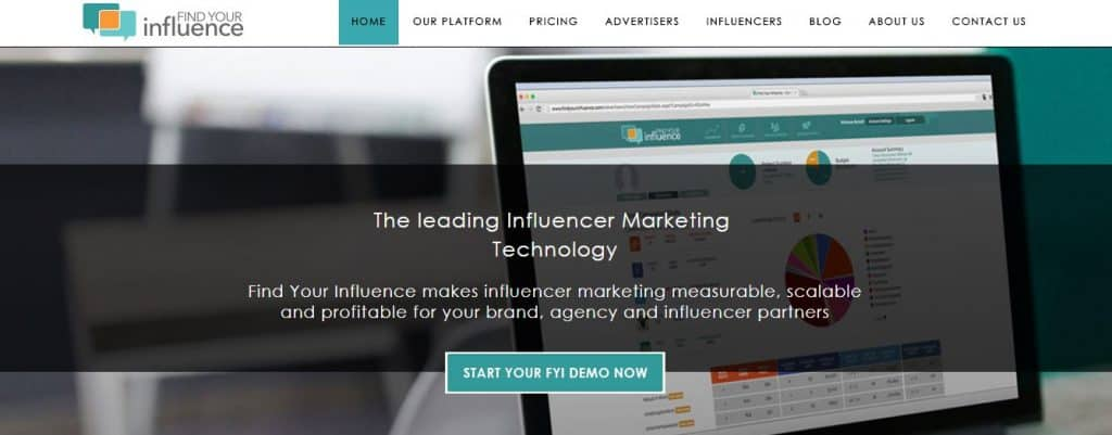 Screenshot of Find Your Influence's website