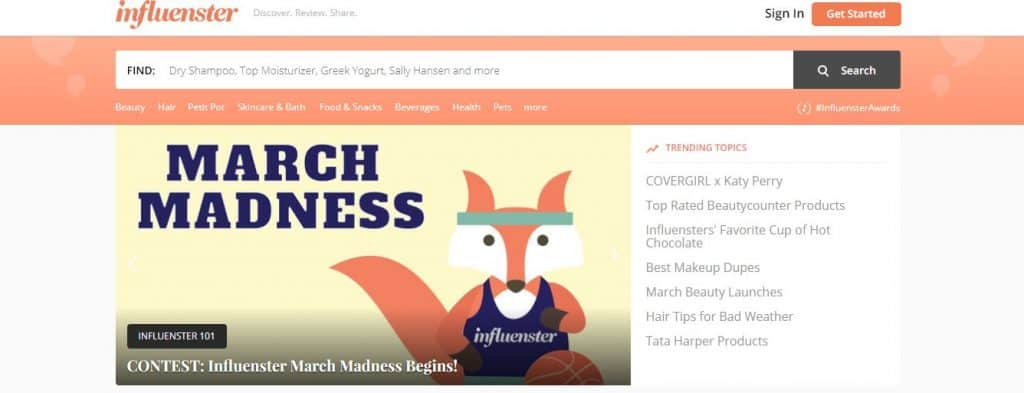 Screenshot of influenster's website