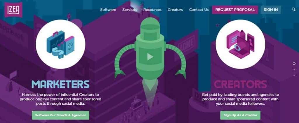 Screenshot of IZEA's website