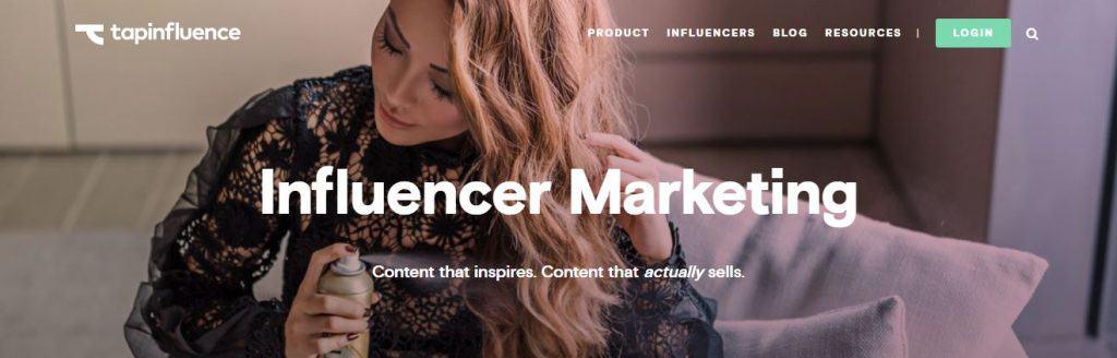 Screenshot of Tapinfluence's website