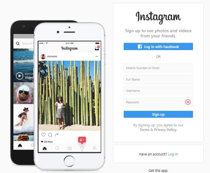 Screenshot of the Instagram sign up