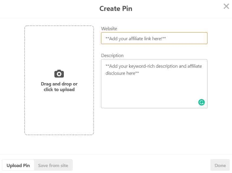 Screenshot of creating a pin on Pinterest
