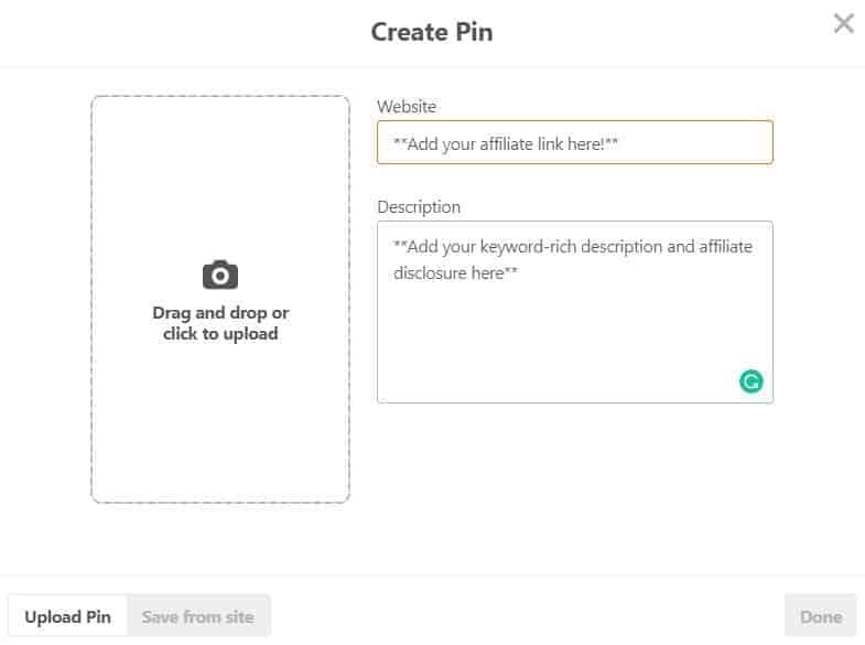 Screenshot of creating a pin on Pinterest