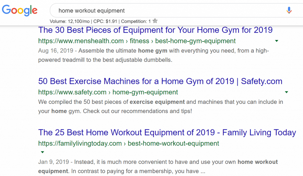 """google search results for """"home workout equipment"""""""