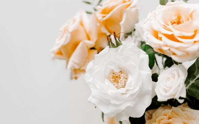 White and peach roses