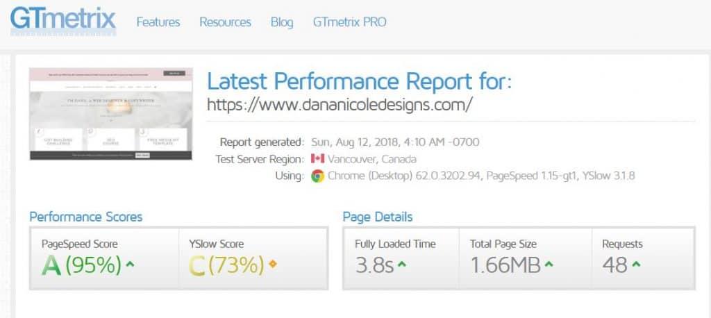 Screenshot of GTmetrix.com