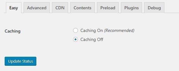 Screenshot of caching plugin interface