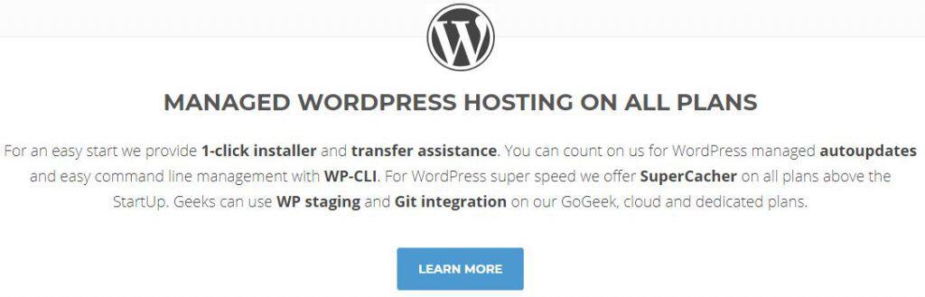 screenshot of wordpress hosting plans