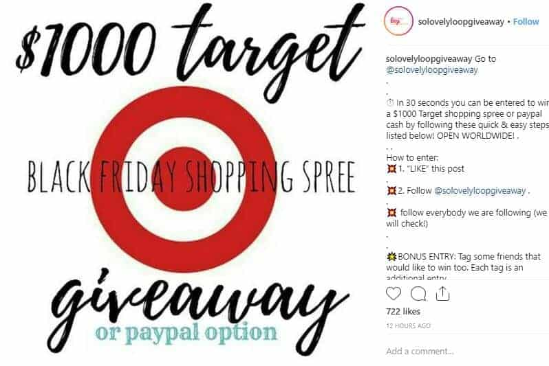 Instagram post of a giveaway