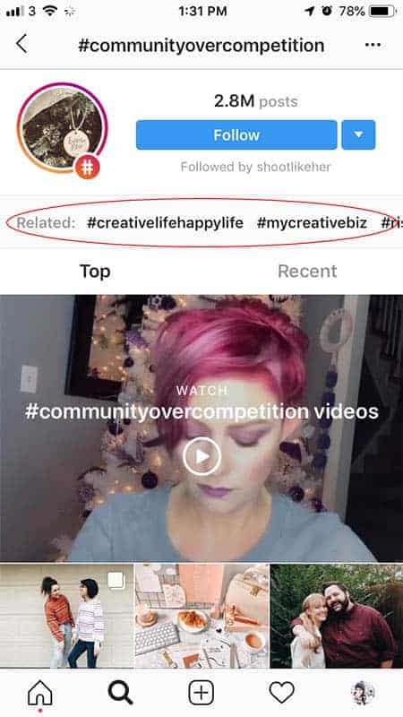 Screenshot of an Instagram hashtag search