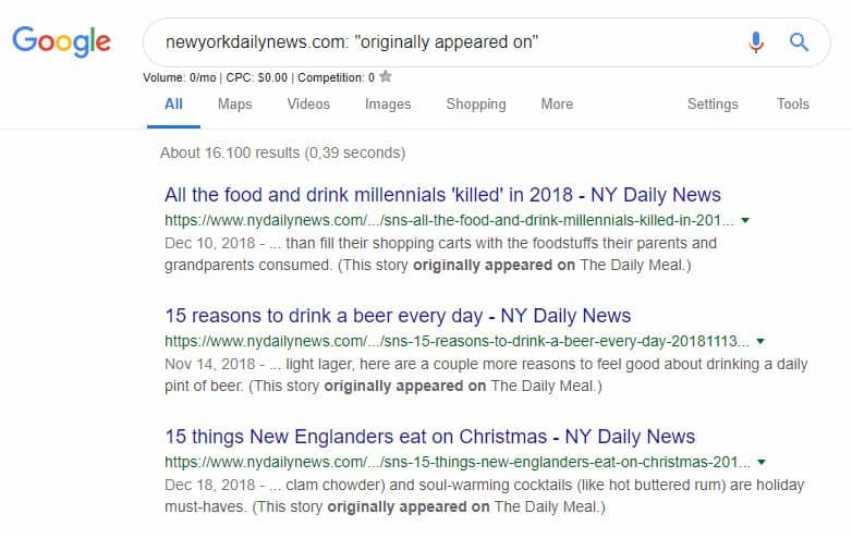 "Screenshot of Google search results for the search ""newyorkdailynews.com: ""originally appeared on"""