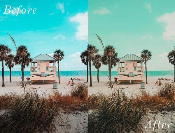 Before and After showing the effect that a preset has on an image. Image is of a small hut on the beach