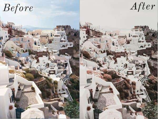 Before and After showing the effect that a preset has on an image. Image is of greek islands with white houses