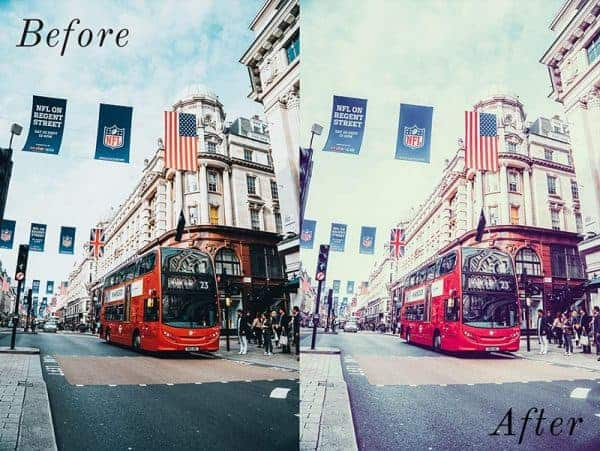 Before and After showing the effect that a preset has on an image. Image is of bus driving down the road