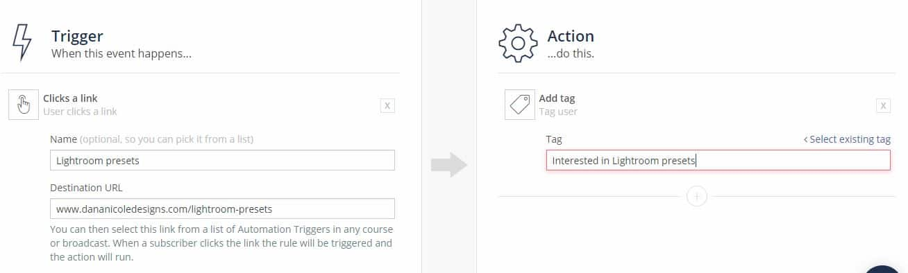 Screenshot on creating an action in ConvertKit