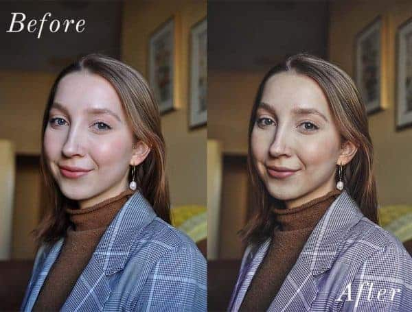 Before and After showing the effect that a preset has on an image. Image is of girl wearing blazer smiling