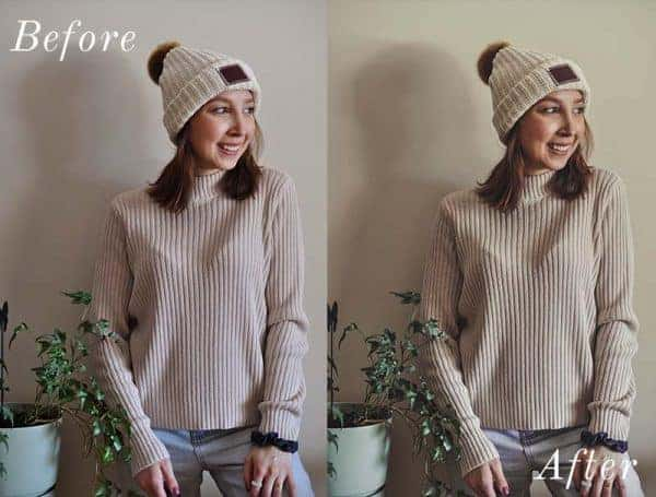 Before and After showing the effect that a preset has on an image. Image is of girl in sweater and toque