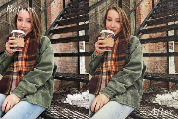 Before and After showing the effect that a preset has on an image. Image is of girl sitting and drinking coffee