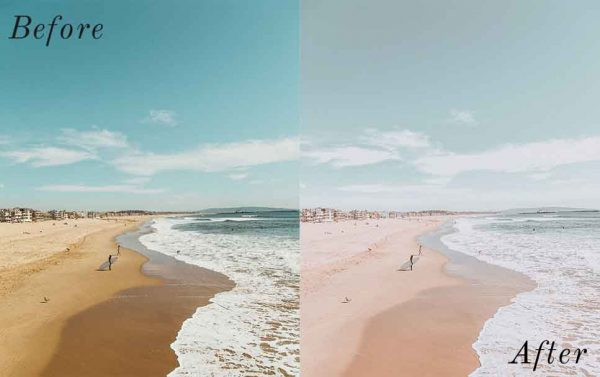 Before and After showing the effect that a preset has on an image. Image is of beach