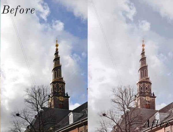 Before and After showing the effect that a preset has on an image. Image is of a church steeple in the sky